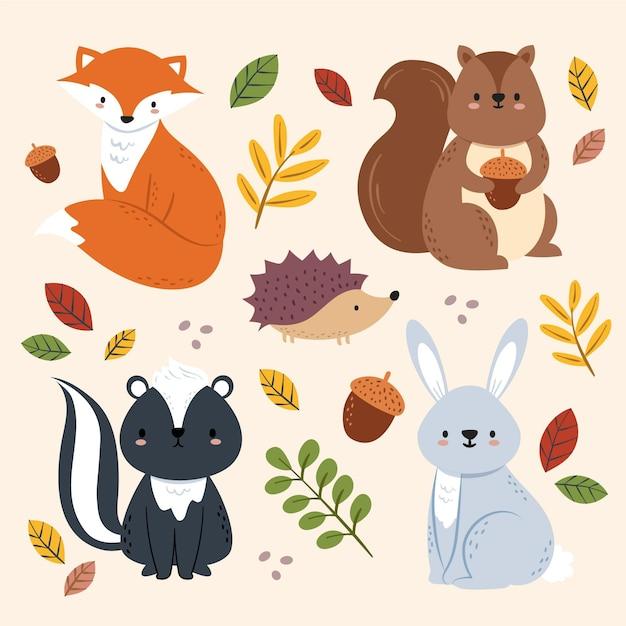 Mão desenhada outono animais da floresta Vetor Premium