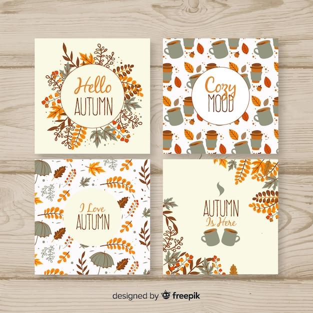 Mão desenhada outono cartões collectio Vetor grátis
