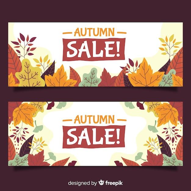 Mão desenhada outono coleção de banners de venda Vetor grátis