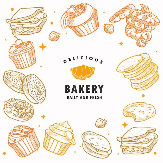 Mão desenhada padaria, pastelaria, pequeno-almoço, pão, doces, sobremesa, ilustração Vetor Premium