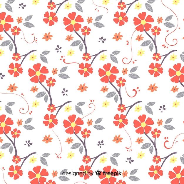 Mão desenhada padrão floral Vetor grátis