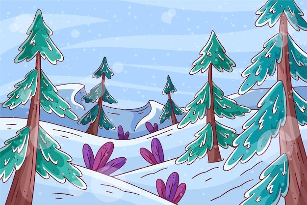 Mão desenhada paisagem de inverno com árvores Vetor Premium