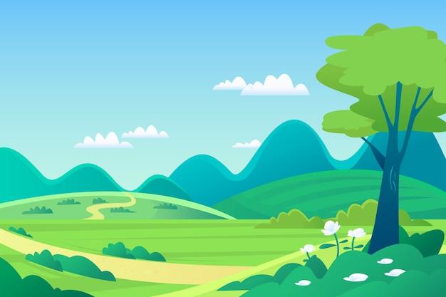 Mão desenhada paisagem de primavera Vetor grátis