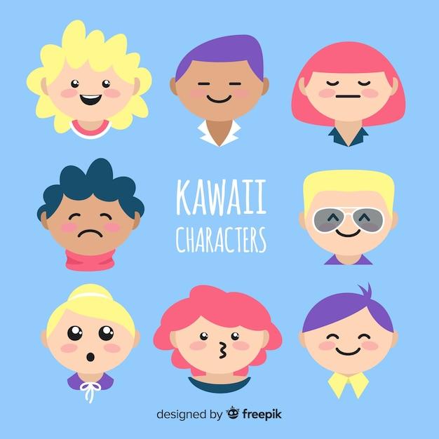 Mão desenhada personagens kawaii enfrenta coleção Vetor grátis