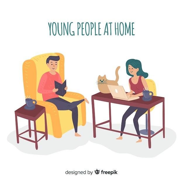 Mão desenhada pessoas em casa coleção Vetor grátis