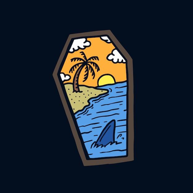 Mão desenhada praia paisagem caixão old school tatuagem ilustração Vetor Premium