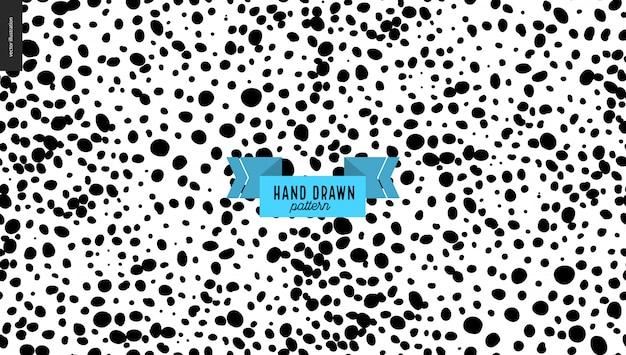 Mão desenhada preto e branco manchas de fundo Vetor Premium