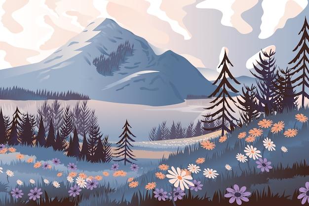 Mão desenhada primavera paisagem com árvores e montanhas Vetor Premium