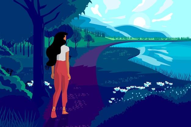 Mão desenhada primavera paisagem com mulher e natureza Vetor grátis