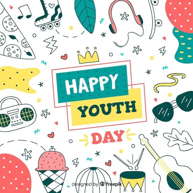 Mão desenhada projeto juventude dia fundo Vetor grátis