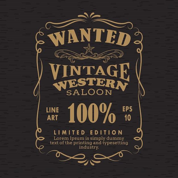 Mão desenhada quadro rótulo lousa vintage retrô queria bandeira ve Vetor Premium