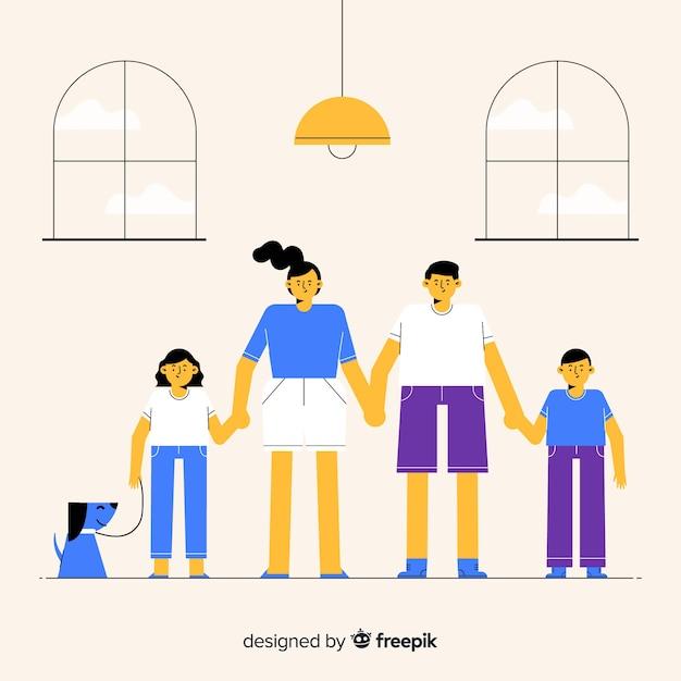 Mão desenhada retrato de família, de mãos dadas Vetor grátis