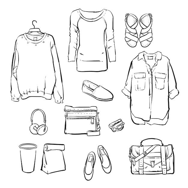 Mão desenhada roupas da moda feminina. Vetor Premium
