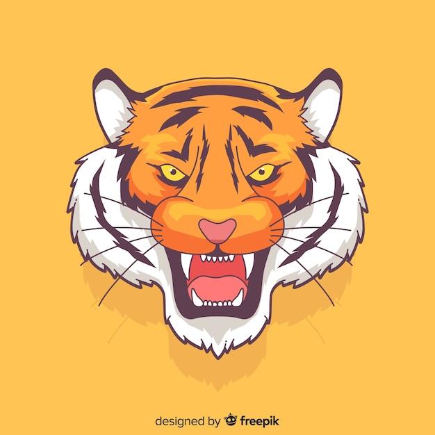 Mão desenhada rugindo fundo de tigre Vetor grátis