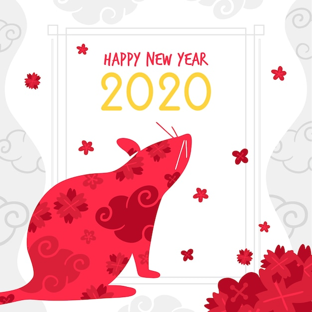 Mão desenhada silhueta vermelha de um ano novo chinês do mouse Vetor grátis