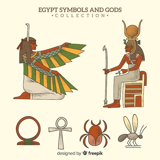 Mão desenhada símbolos egípcios e coleção de deuses Vetor grátis