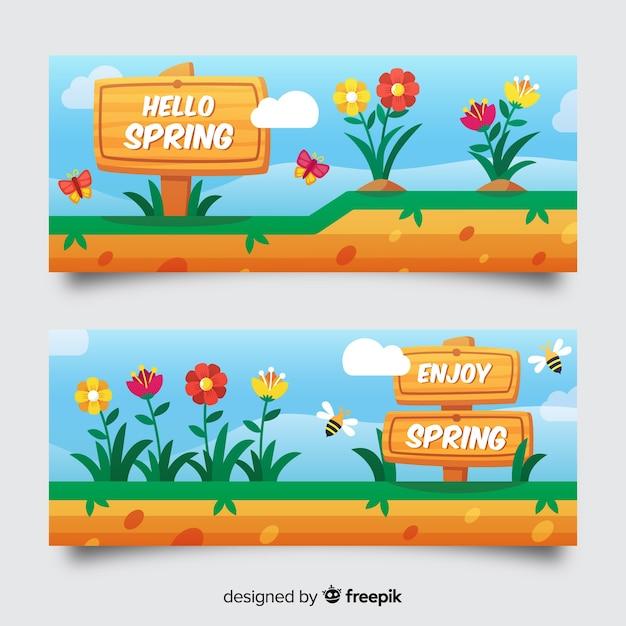 Mão desenhada sinal primavera venda banner Vetor grátis