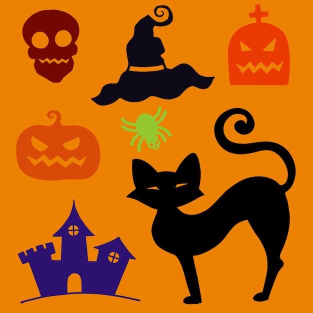 Mão desenhada texturizado conjunto de halloween de um caixão, abóbora, crânio e aranha Vetor Premium