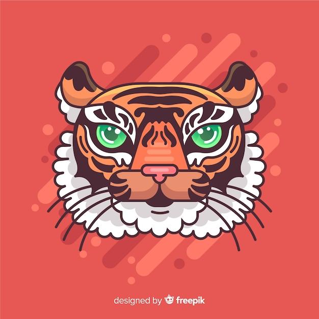 Mão desenhada tigre cabeça fundo Vetor grátis