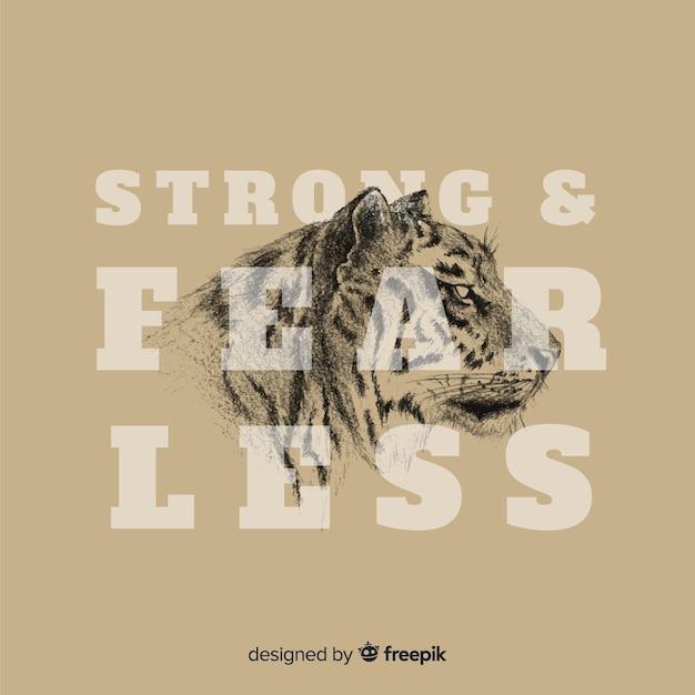 Mão desenhada tigre fundo com slogan Vetor grátis