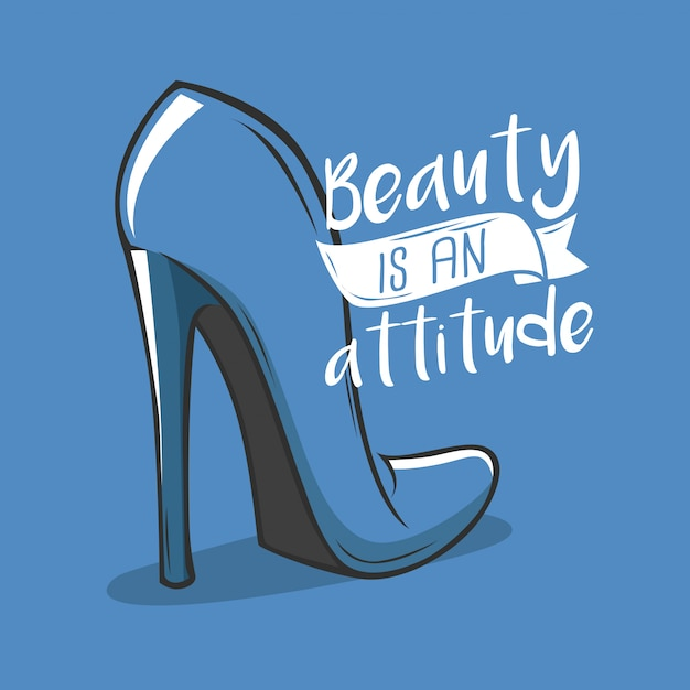 Mão desenhada tipografia beleza e design de atitude Vetor Premium