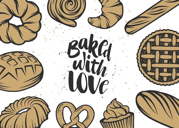 Mão desenhada tipografia design com pão, pastelaria Vetor Premium