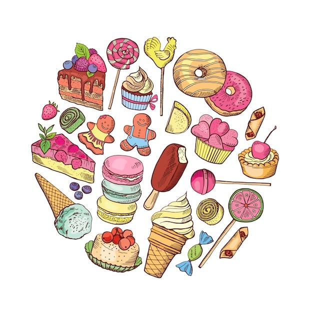 Mão desenhada tipos de círculo de comida de doces Vetor Premium