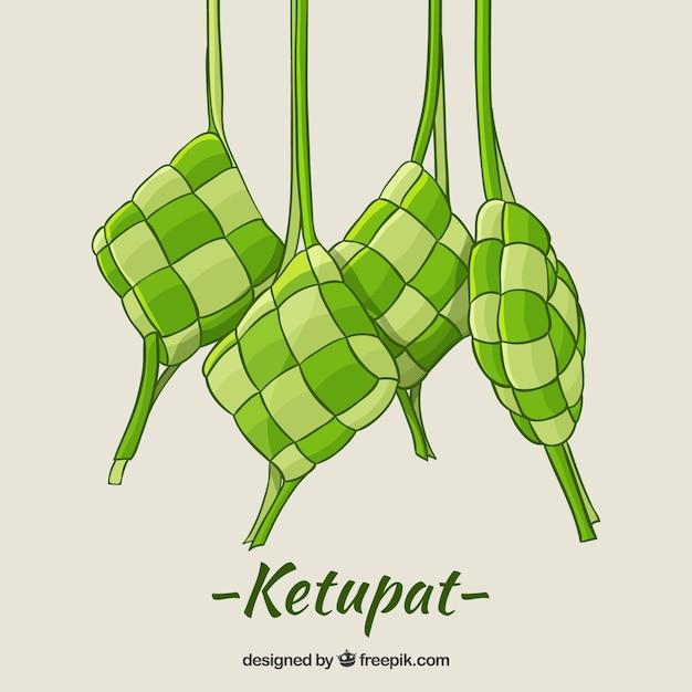 Mão desenhada tradicional ketupat composição Vetor grátis
