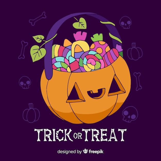 Mão desenhada truque ou deleite coleção de saco de halloween Vetor grátis