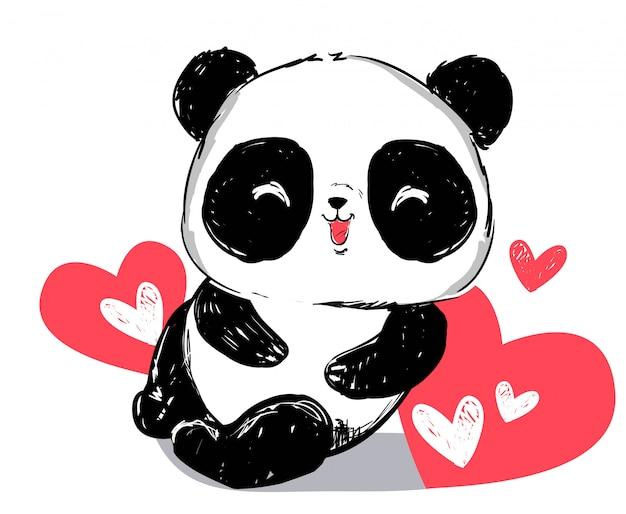 Mão desenhada urso panda bonito e coração vermelho isolado. Vetor Premium