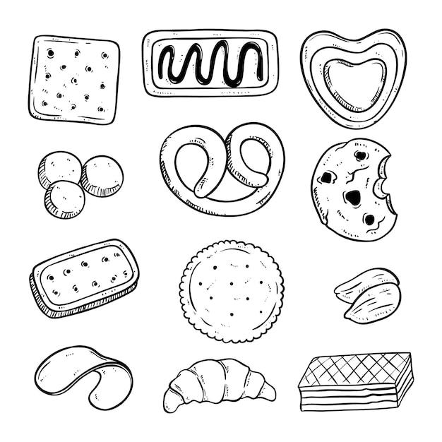 Mão desenhada vários tipos de biscoitos saborosos Vetor Premium