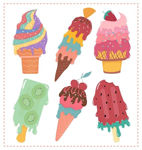 Mão desenhada vector plana doce sorvete pastel derretido coleção verão Vetor Premium