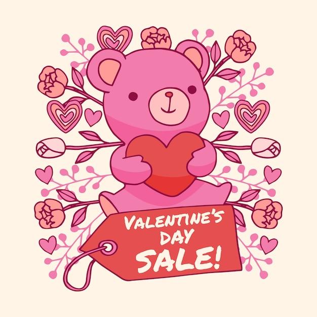 Mão desenhada venda de dia dos namorados com ursinho de pelúcia Vetor grátis
