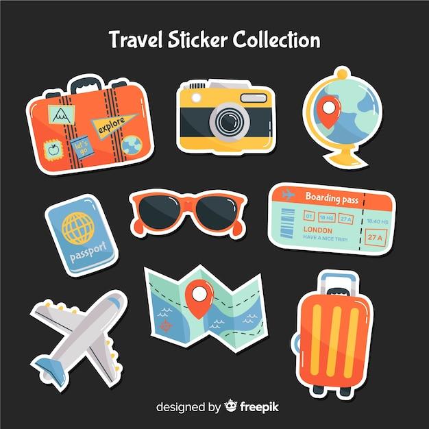 Mão desenhada viagem etiqueta coleção Vetor grátis