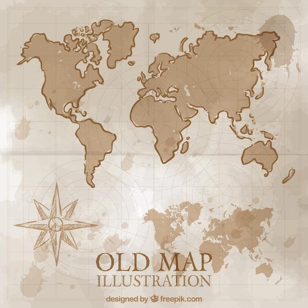 Mão desenhada vintage mapa do mundo Vetor grátis