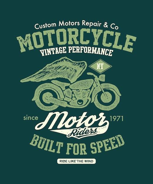 Mão desenhada vintage motocicleta. ilustração da composição. Vetor Premium