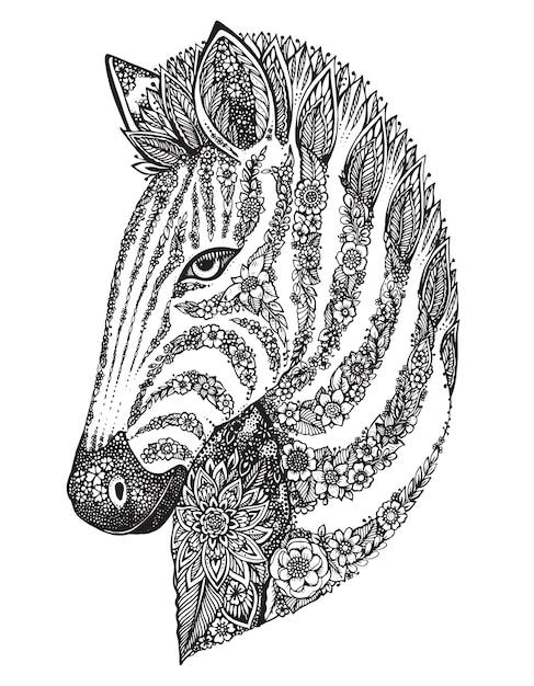 Mão desenhada zebra ornamentada gráfica com padrão étnico floral doodle. ilustração para colorir livro, tatuagem, impressão em t-shirt, bolsa. sobre um fundo branco. Vetor Premium