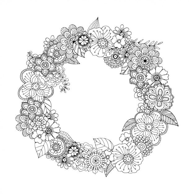 Mão desenhada zentangle doodle ilustração para livros de colorir de adulto Vetor Premium