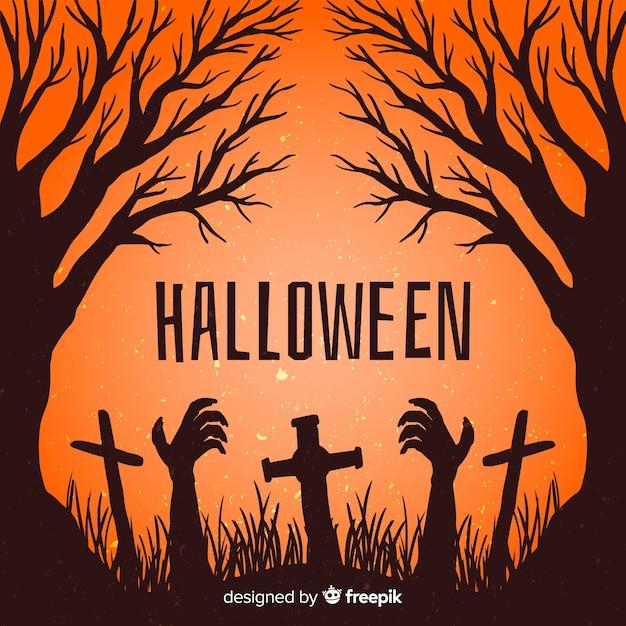 Mão desenhada zumbi de quadro de halloween em um cemitério Vetor grátis