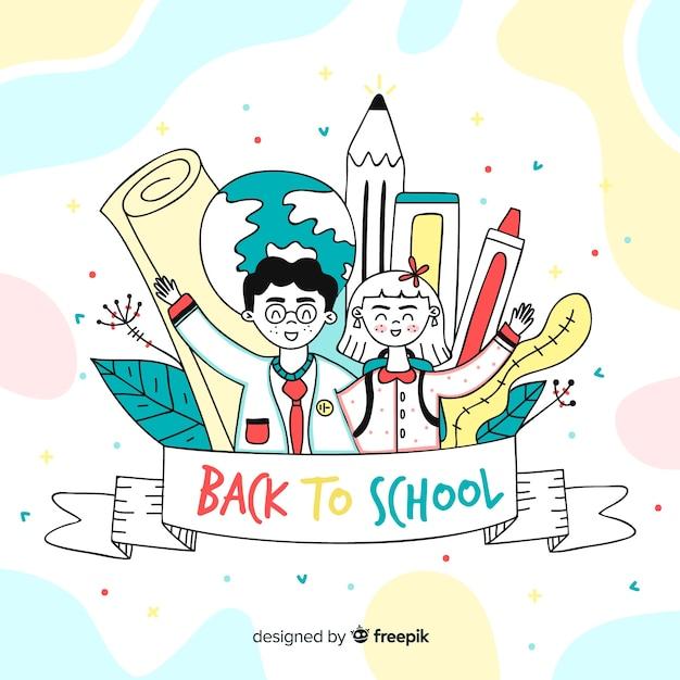 Mão desenhadas crianças de volta à escola Vetor grátis