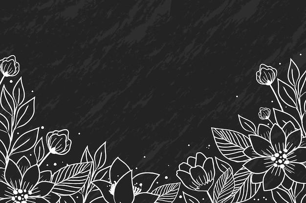 Mão desenhadas flores sobre fundo de quadro-negro Vetor Premium