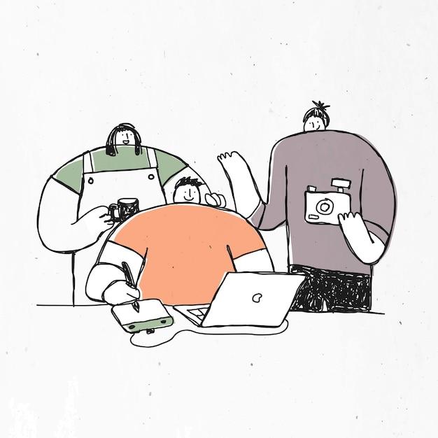Mão desenhadas personagens com câmera, xícara de café e laptop Vetor grátis