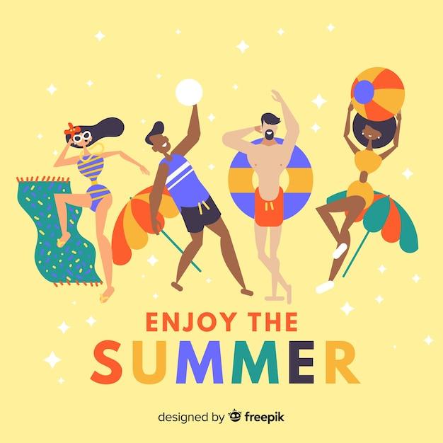 Mão desenhadas pessoas aproveitando o verão Vetor grátis