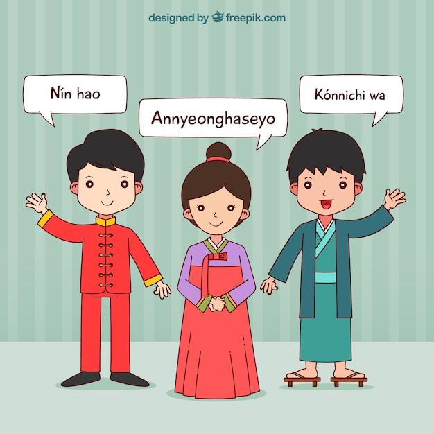 Mão desenhadas pessoas asiáticas falando línguas diferentes Vetor grátis