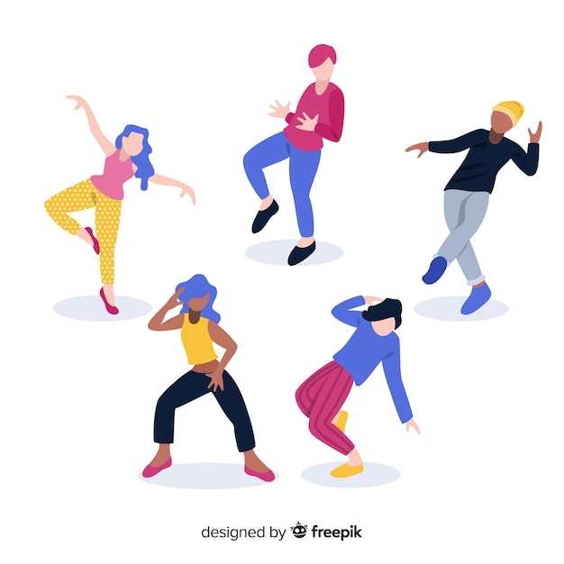 Mão desenhadas pessoas dançando fundo Vetor grátis