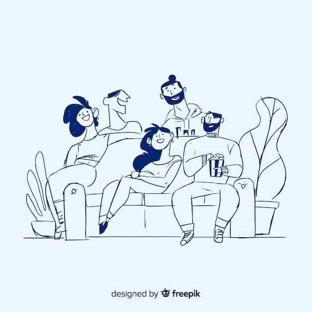 Mão desenhadas pessoas em casa fundo Vetor grátis