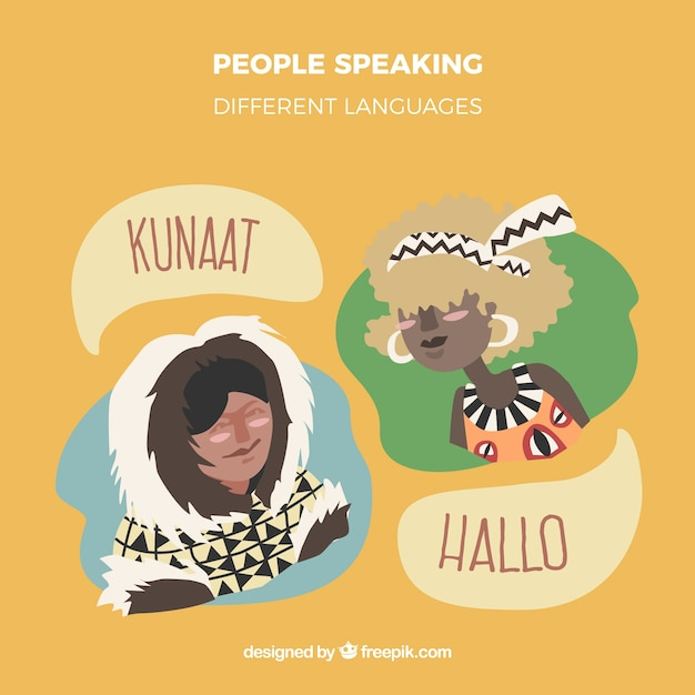 Mão desenhadas pessoas falando línguas diferentes Vetor grátis