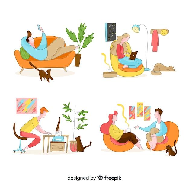 Mão desenhadas pessoas relaxando em casa Vetor grátis