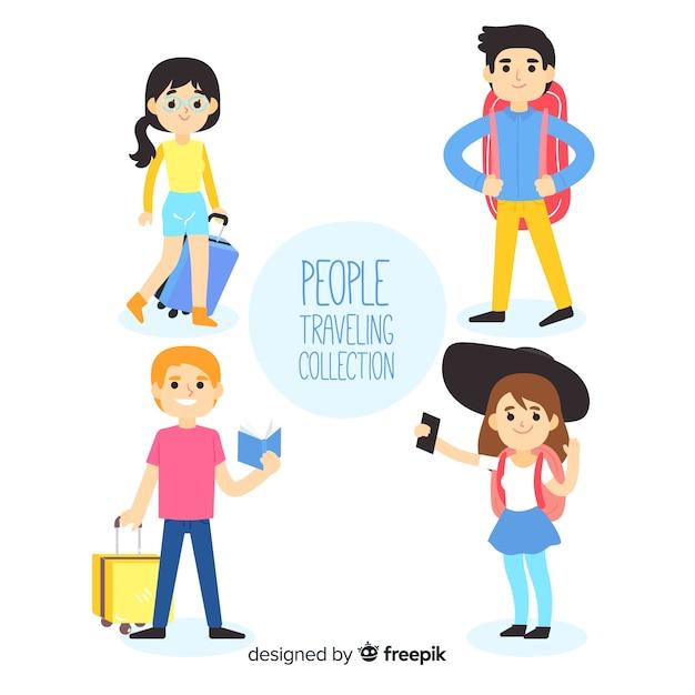 Mão desenhadas pessoas viajando conjunto Vetor grátis
