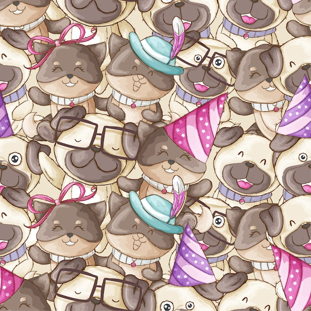 Mão, desenhado, animal, padrão, cão, ilustração Vetor Premium